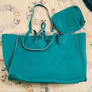 NEW TEAL LARGE CAVIAR LEATHER TOTE BAG FROM ITALY